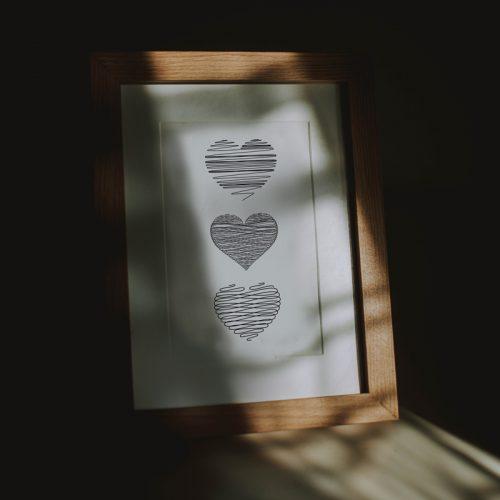 poster drie hartjes illustratie