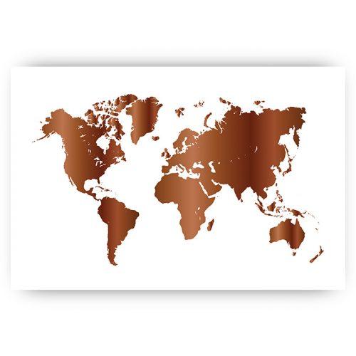 poster wereldkaart brons koper