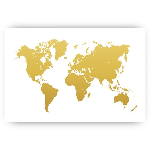 poster wereldkaart goud