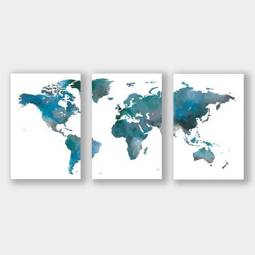 poster set wereldkaart blauw