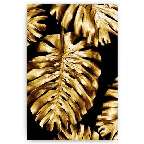 poster monstera bladeren goud