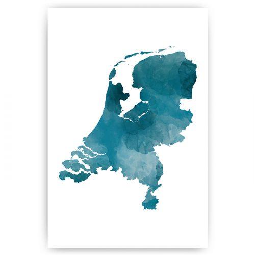 poster nederland kaart blauw