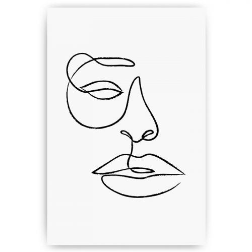 poster abstracte minimalistische kunst gezicht