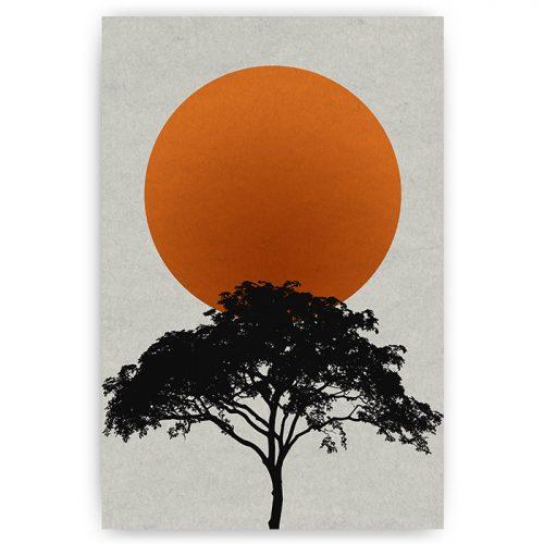 poster landschap silhouet boom met zon