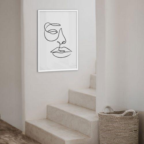 poster abstract gezicht lijn