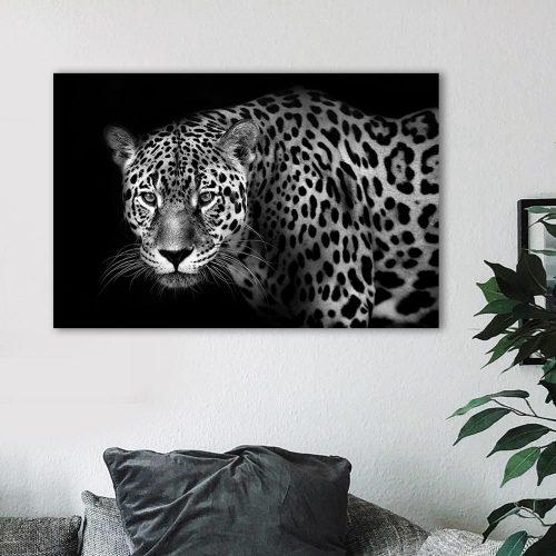 schilderij luipaard zwart wit