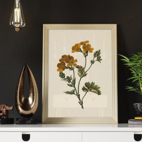 poster vintage gele bloemetjes