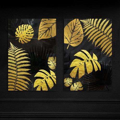 poster set gouden bladeren