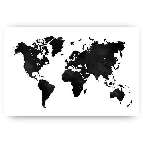poster wereldkaart zwart wit