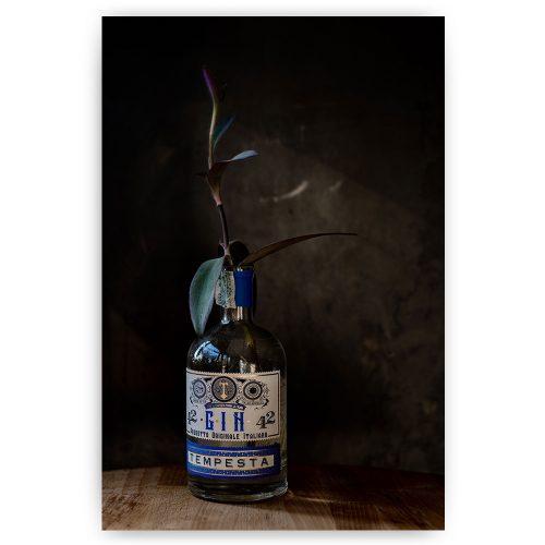 gin fles met plant
